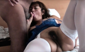 Stacked Oriental Lady Rubs Her Hairy Cunt And Sucks A Dick