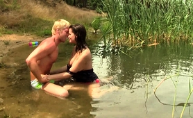 Pretty Brunette Teen Enjoys A Wild Fucking In The Outdoors