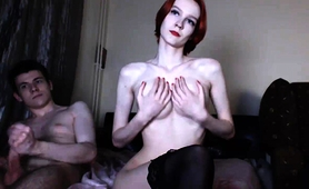 Slender Redhead Camgirl In Stockings Loves To Suck And Fuck